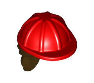 LEGO Construction Helmet with Dark Brown Hair (16178 / 29211)