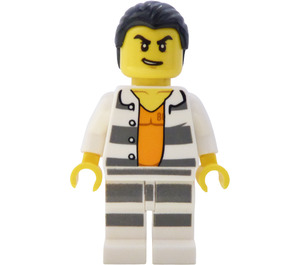 LEGO Crook in White With Grey Horizontal Stripes Minifigure