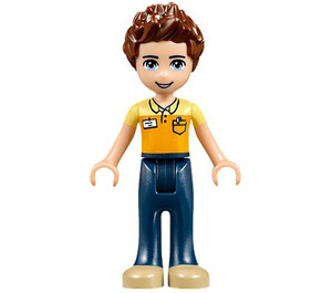 LEGO Daniel, Dark Blue Trousers, Orange and Bright Light Yellow Polo Shirt Minifigure