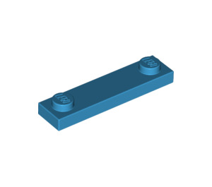 LEGO Dark Azure Plate 1 x 4 with Two Studs without Groove (92593)