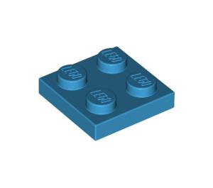 LEGO Dark Azure Plate 2 x 2 (3022)