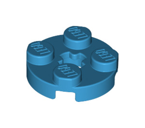 LEGO Dark Azure Round Plate 2 x 2 with Axle Hole (with '+' Axle Hole) (4032)