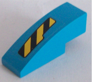 LEGO Dark Azure Slope 1 x 3 Curved with Black and Yellow Danger Stripes Cutout Pattern Right Sticker