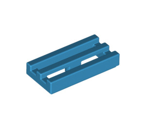 LEGO Dark Azure Tile 1 x 2 Grille (with Bottom Groove) (2412)