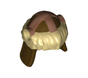 LEGO Dark Brown Hun Warrior Helmet with Tan Fur and Copper Protection Bands Pattern (17353 / 18142)