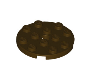 LEGO Dark Brown Plate 4 x 4 Round with Hole and Snapstud (60474)