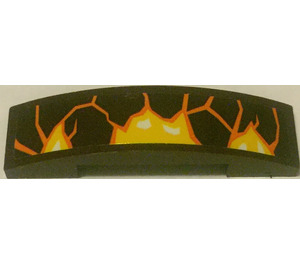 LEGO Dark Brown Slope 1 x 4 Curved Double with Lava and Three White Spots in the Middle from Set 70321 Sticker