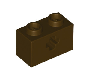 LEGO Dark Brown Technic Brick 1 x 2 with Axle Hole (Old Style with '+' Opening) (31493)