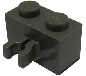 LEGO Dark Gray Brick 1 x 2 with Vertical Clip (Gap in Clip) (30237)