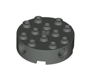 LEGO Dark Gray Brick 4 x 4 Round with Holes (6222)