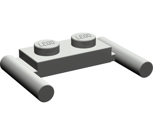 LEGO Dark Gray Plate 1 x 2 with Handles (Low Handles) (3839)