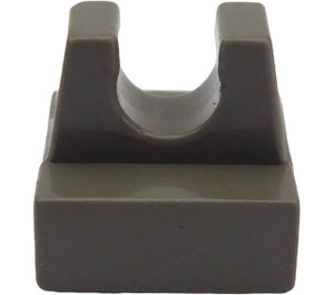 LEGO Dark Gray Tile 1 x 1 with Clip (No Cut in Center) (2555)