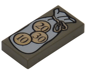 LEGO Dark Gray Tile 1 x 2 with Bag and 10, 20, 30 Coins Pattern with Groove