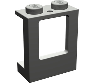 LEGO Dark Gray Window 1 x 2 x 2 with 2 Holes in Bottom (2377)
