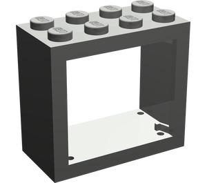 LEGO Dark Gray Window 2 x 4 x 3 with Rounded Holes (4132)
