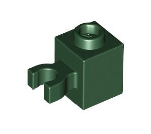 LEGO Dark Green Brick 1 x 1 with Vertical Clip ('U' Clip, Solid Stud) (60475)