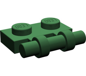 LEGO Dark Green Plate 1 x 2 with Handle (Open Ends)