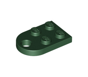 LEGO Dark Green Plate 2 x 3 with Rounded End and Pin Hole (3176)