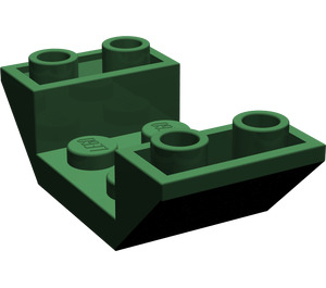 LEGO Dark Green Slope 2 x 4 (45°) Double Inverted with Open Center (4871)