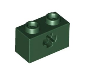 LEGO Dark Green Technic Brick 1 x 2 with Axle Hole (Old Style with '+' Opening) (32064)