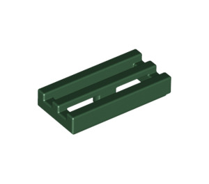 LEGO Dark Green Tile 1 x 2 Grille (with Bottom Groove) (2412)