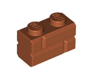 LEGO Dark Orange Brick 1 x 2 with Embossed Bricks (98283)