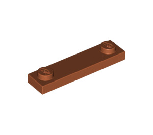 LEGO Dark Orange Plate 1 x 4 with Two Studs without Groove (92593)