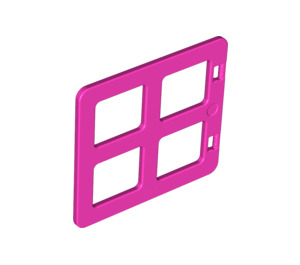 LEGO Dark Pink Duplo Window 4 x 3 with Bars with Same Sized Panes (90265)