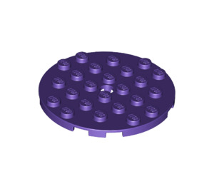 LEGO Dark Purple Plate 6 x 6 Round with Pin Hole (11213)