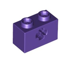 LEGO Dark Purple Technic Brick 1 x 2 with Axle Hole (Old Style with '+' Opening) (32064)
