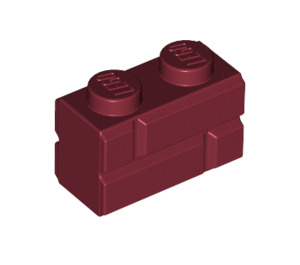 LEGO Dark Red Brick 1 x 2 with Embossed Bricks (98283)
