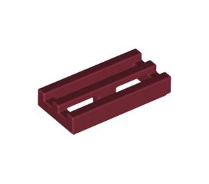 LEGO Dark Red Tile 1 x 2 Grille (with Bottom Groove) (2412)