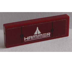 LEGO Dark Red Tile 1 x 3 with 'HAMMER' and Triangle pattern Sticker
