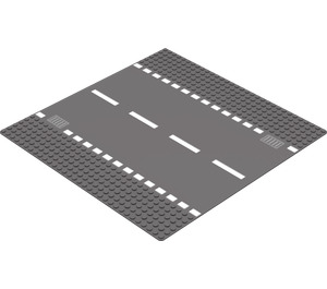 LEGO Dark Stone Gray Baseplate 32 x 32 Road 6-Stud Straight with White Dashed Lines (44336 / 54201)