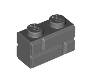 LEGO Dark Stone Gray Brick 1 x 2 with Embossed Bricks (98283)