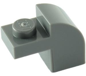 LEGO Dark Stone Gray Brick 1 x 2 x 1.33 with Curved Top (6091)