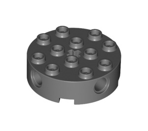 LEGO Dark Stone Gray Brick 4 x 4 Round with Holes (6222)