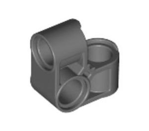 LEGO Dark Stone Gray Cross Block Bent 90 Degrees with Three Pinholes (44809)