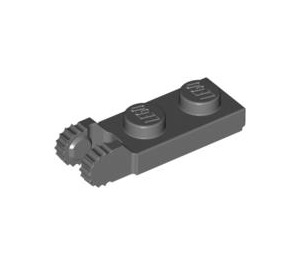 LEGO Dark Stone Gray Hinge Plate 1 x 2 with Locking Fingers with Groove (44302)