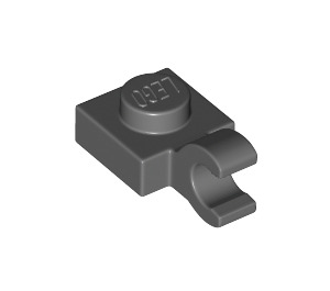 LEGO Dark Stone Gray Plate 1 x 1 with Horizontal Clip (Thick Open 'O' Clip) (61252)