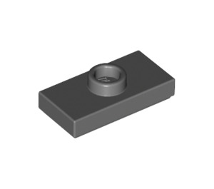 LEGO Dark Stone Gray Plate 1 x 2 with 1 Stud (with Groove and Bottom Stud Holder) (15573)