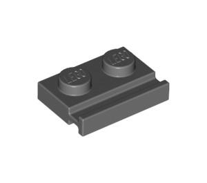 LEGO Dark Stone Gray Plate 1 x 2 with Door Rail (32028)