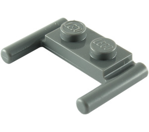 LEGO Dark Stone Gray Plate 1 x 2 with Handles (Low Handles) (3839)