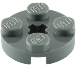 LEGO Dark Stone Gray Plate 2 x 2 Round with Axle Hole (with '+' Axle Hole) (4032)