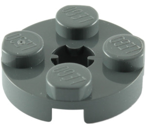 LEGO Dark Stone Gray Plate 2 x 2 Round with Axle Hole (with 'X' Axle Hole) (4032)