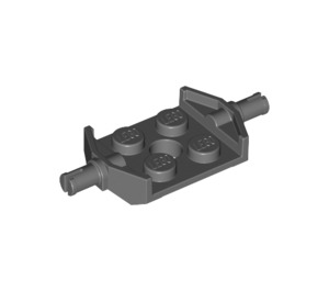 LEGO Dark Stone Gray Plate 2 x 2 with Wide Wheel Attachments (Non-Reinforced Bottom) (6157)