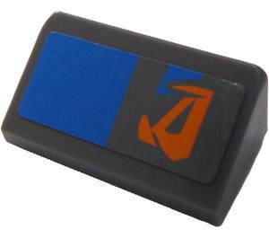 LEGO Dark Stone Gray Slope 1 x 2 (31°) with Blue Rectangle and Orange Pattern (Left) Sticker