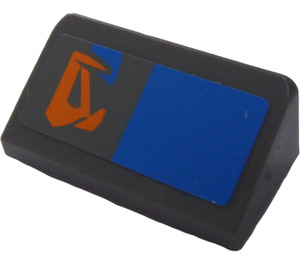 LEGO Dark Stone Gray Slope 1 x 2 (31°) with Blue Rectangle and Orange Pattern (Right) Sticker