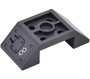 LEGO Dark Stone Gray Slope 45° 4 x 2 Double Inverted with Open Center with Bullet Damaged Panel Sticker from Set 7051