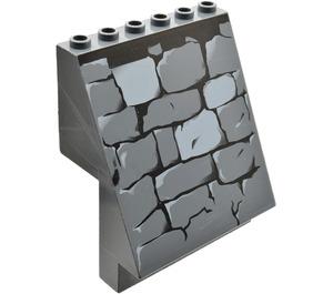LEGO Dark Stone Gray Sloped Panel 4 x 6 x 6 with Stone Wall Pattern (53212)